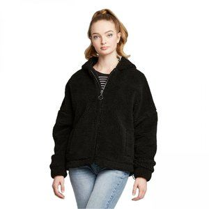 NWT Wild Fable Hooded Sherpa Jacket XXL Black